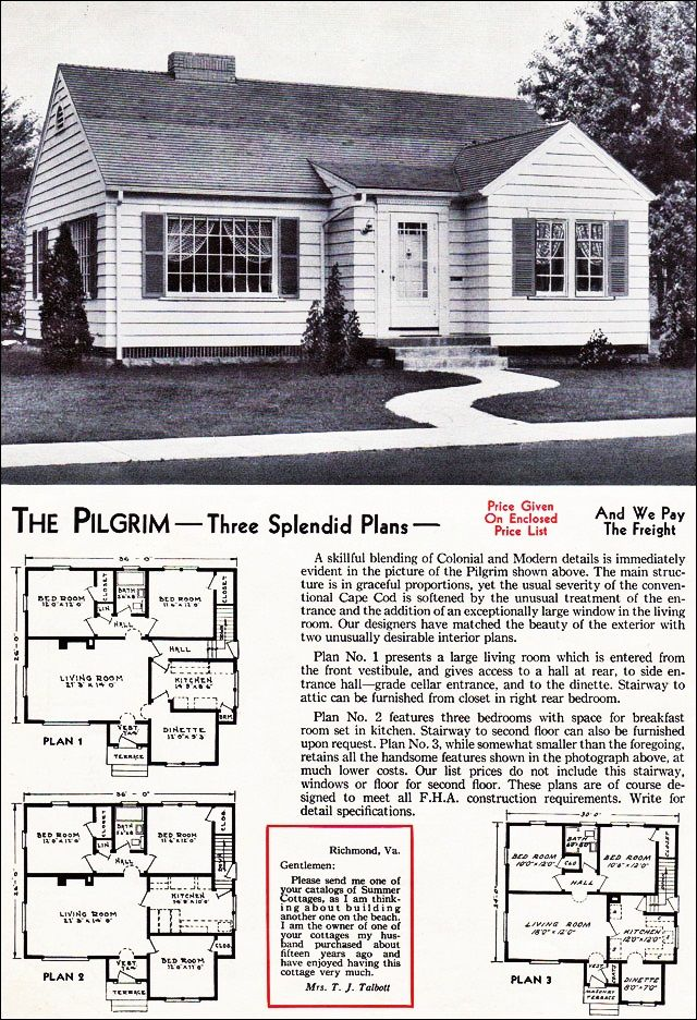 The Pilgrim Kit House Floor Plan Made By The Aladdin Company In Bay City Michigan In 1940 Vintage Bungalow House Plans House Plans Ranch Style House Plans