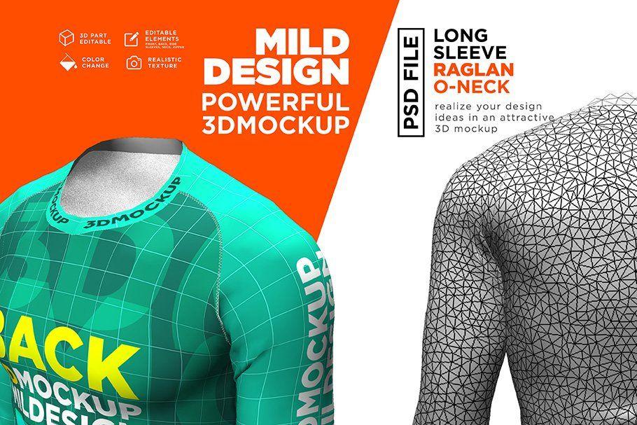 Download Raglan T Shirt 3d Mockup Long By Mild On Creativemarket