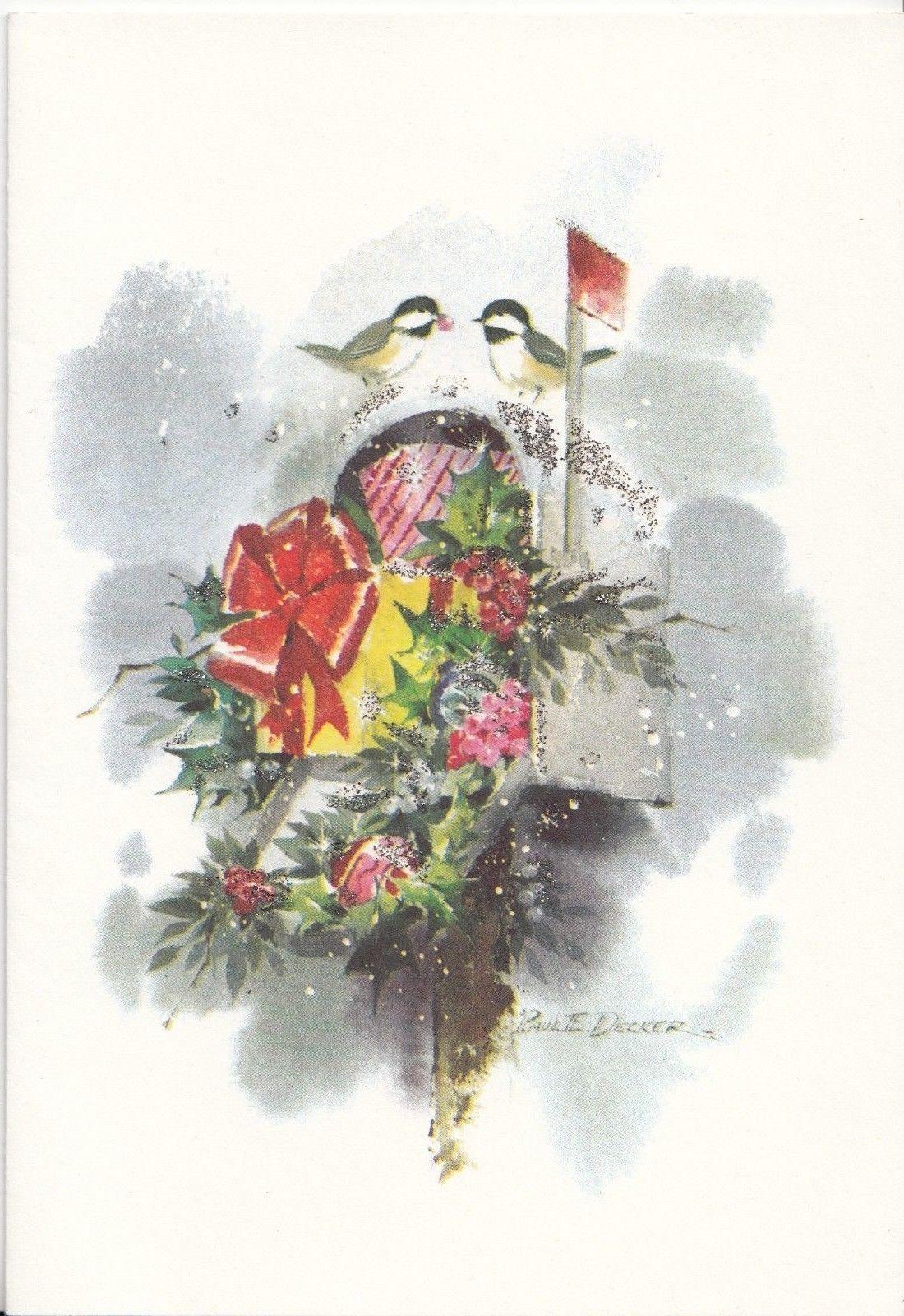 Unused, Lovely Glittered Christmas Mail Box, Vintage