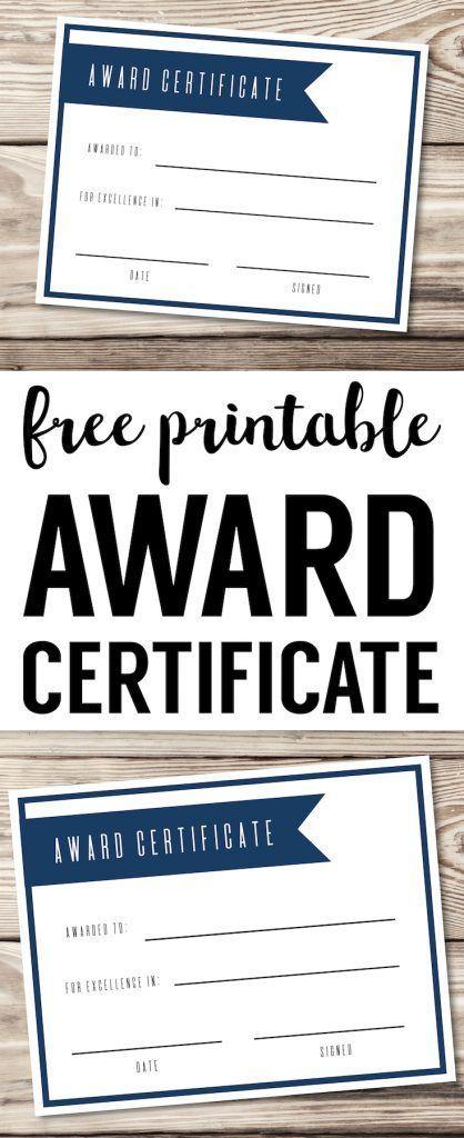 Free Printable Award Certificate Template Editable, easy, basic