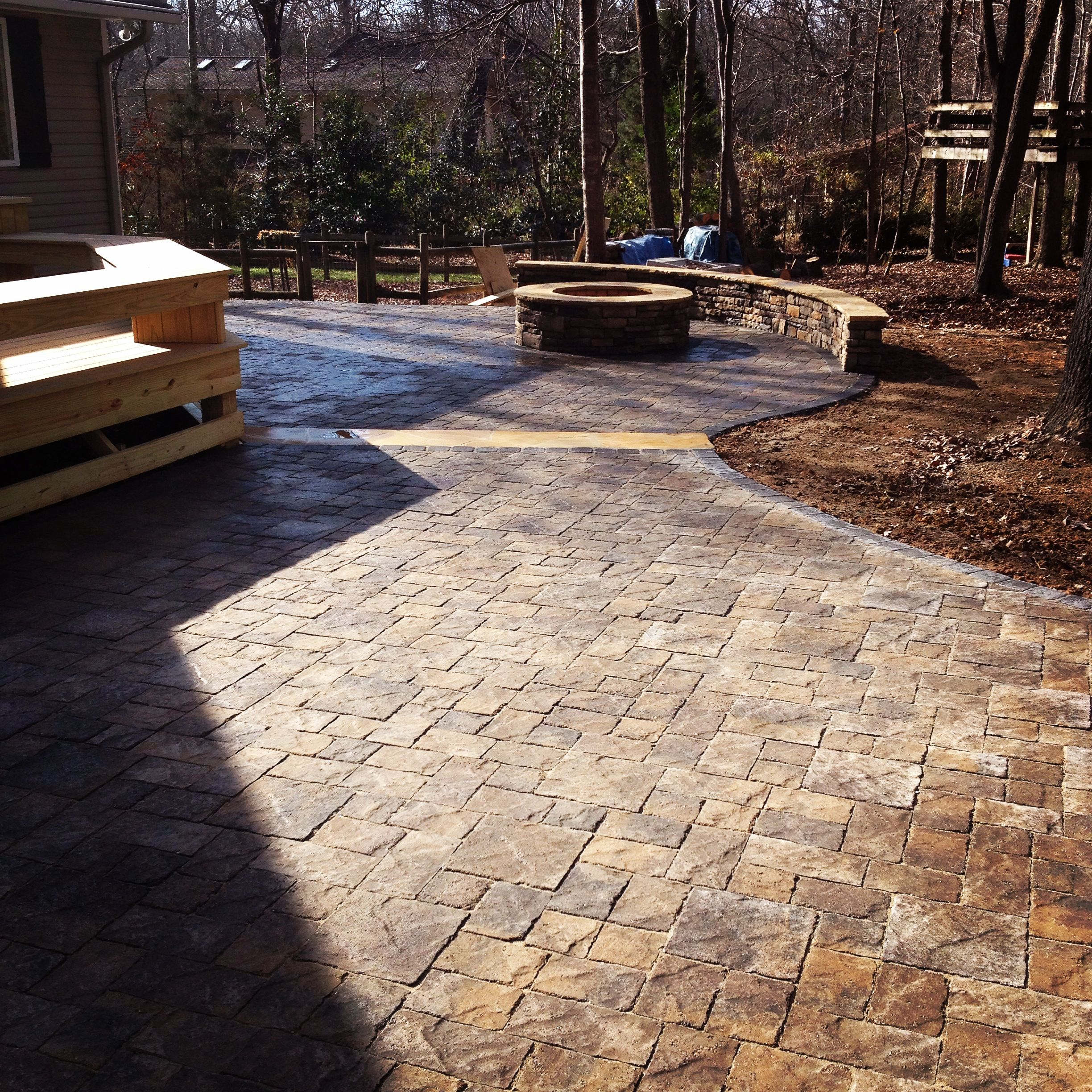 Waxhaw Paver Patio Using Pavestone Tumbled Venetian Blend Natural Stone