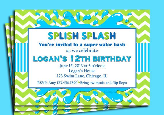 splish splash invitation printable or printed with free shipping