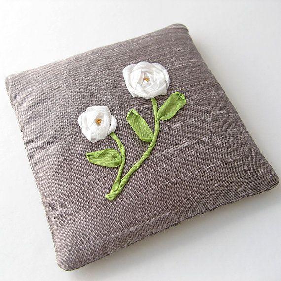 White roses lavender sachet, embroidered silk ribbon roses, June birthday gift, drawer freshener, scented sachet,  purple silk sachet