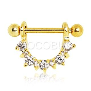 Gold Plated Half Circle Gemmed Nipple Ring Jewelry Pinterest
