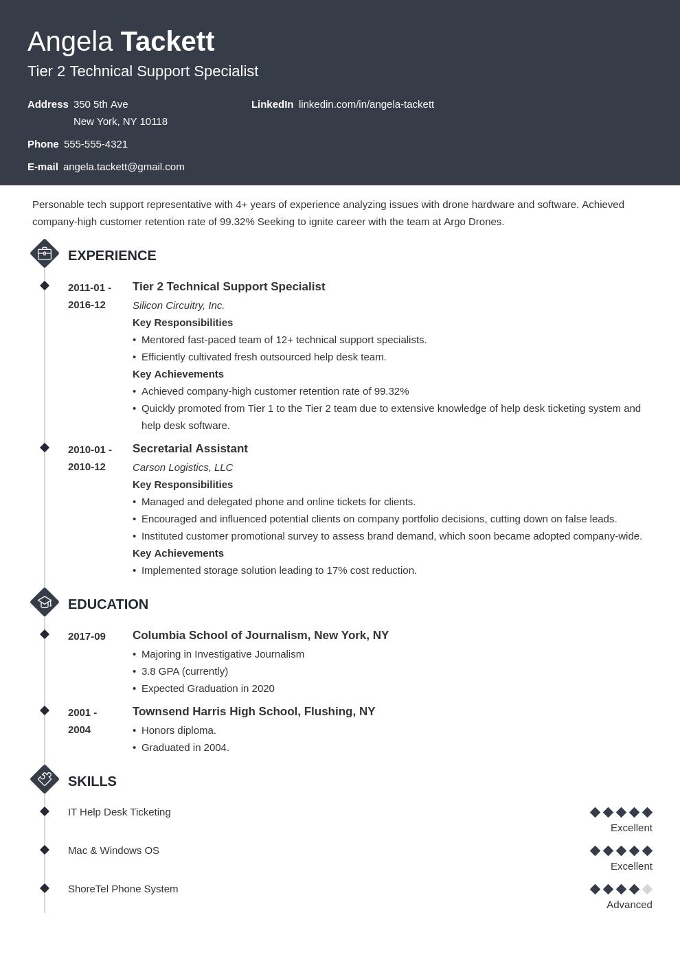 help desk resume example template diamond in 2020 Resume