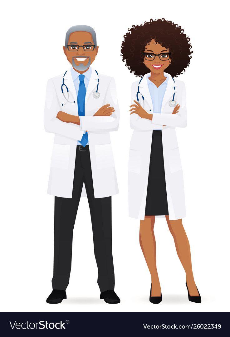 Male And Female Doctor Royalty Free Vector Image Female Doctor Black Love Art Black Women Art