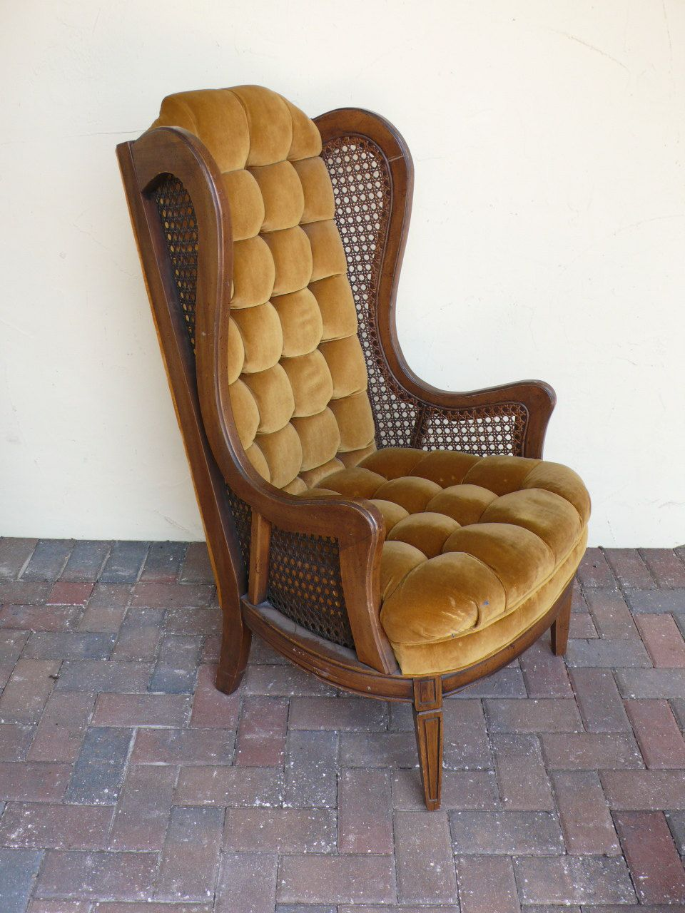 Vintage High Back Cane Side Wing Arm Chair With Wood Frame Shown