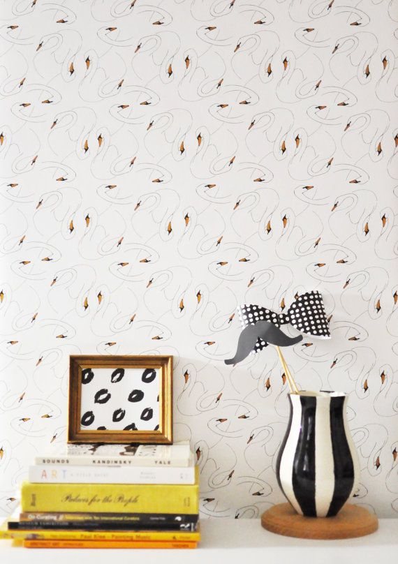 Removable Wallpaper For Apartments removable wallpaper // swan print // assorted lengths // perfect