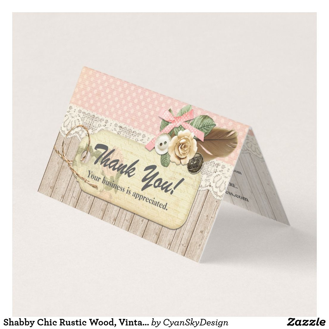 Shabby Chic Rustic Wood, Vintage Lace Thank You Card | Branding ...