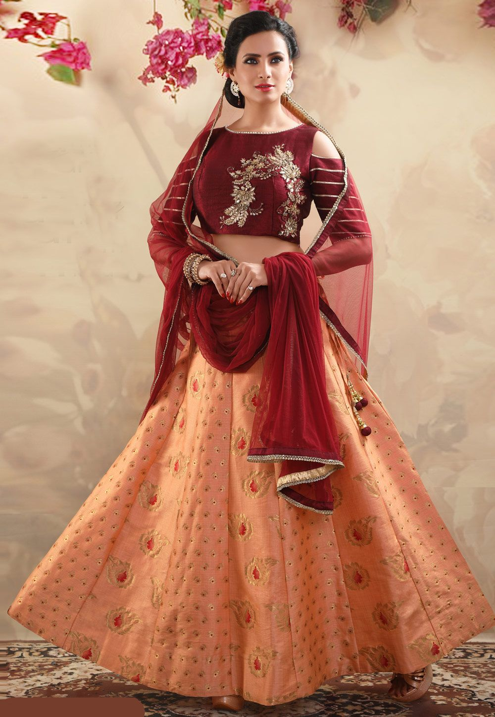 663fe5f35c Buy Peach Silk Readymade Circular Lehenga Choli 165540 online at best price  from vast collection of