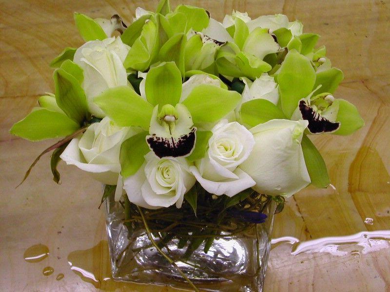 Centerpiece Jade Orchid White Rose Free Wedding Blogs