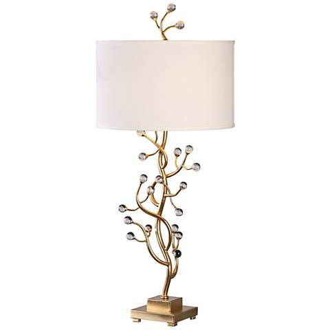 Uttermost Bede Gold Leaf And Crystal Beads Table Lamp
