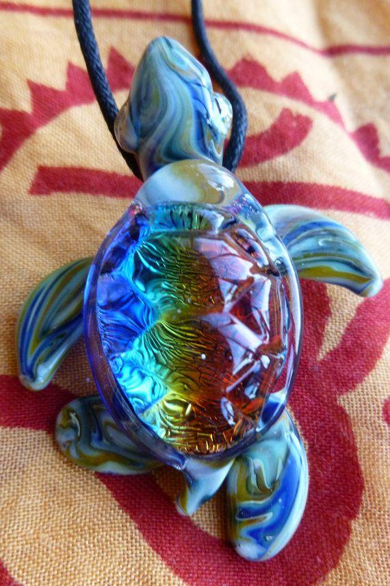 Dichroic lampwork glass pendant sea turtle glass glass dichroic lampwork glass pendant sea turtle mozeypictures Images