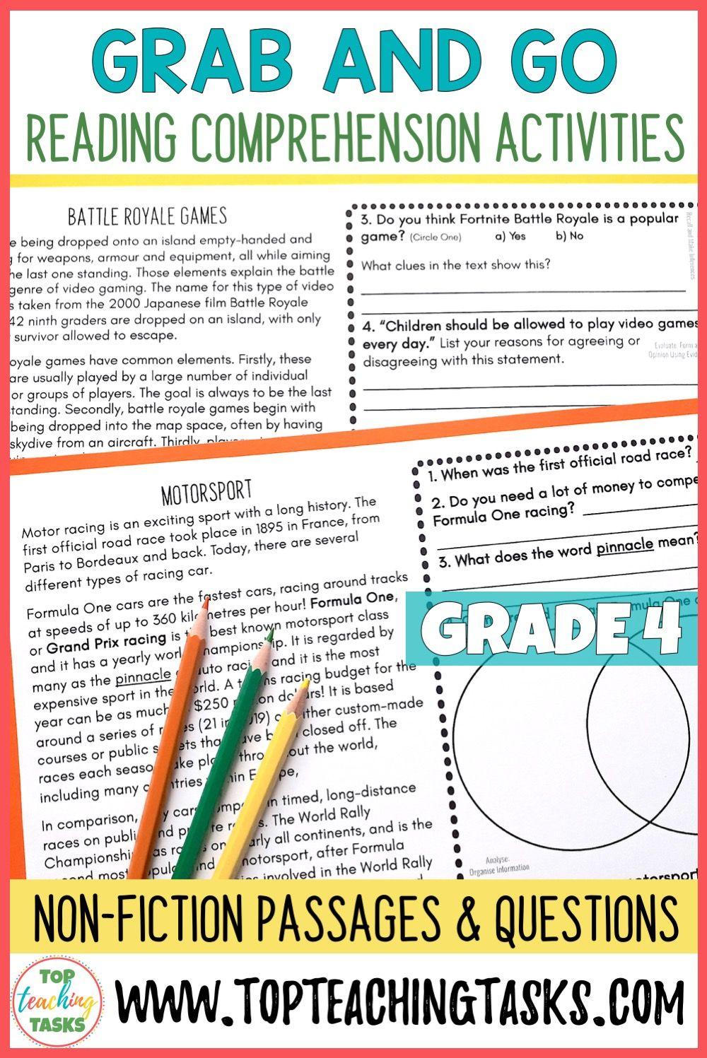 hight resolution of 4th Grade Reading Comprehension Passages and Questions   Reading  comprehension