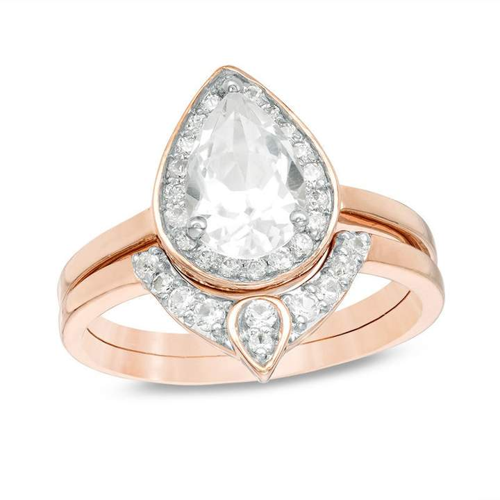 Zales Pear-Shaped Lab-Created White Sapphire and 1/8 CT. T.w. Diamond Frame Bridal Set in Sterling Silver X2aNMgXroF