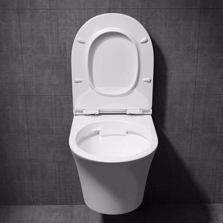 WC toilette suspendu sans bride, à monter au mur, abattant ...