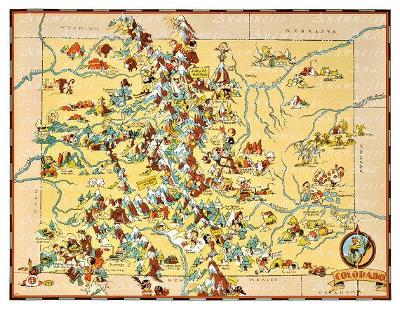 Colorado Map Art.Colorado Map High Res Digital Image 1935 Colarado Picture Map