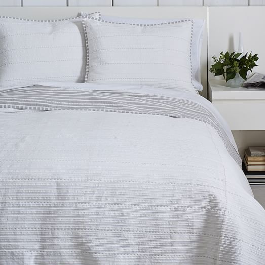 Nadia Striped Coverlet + Shams | West Elm