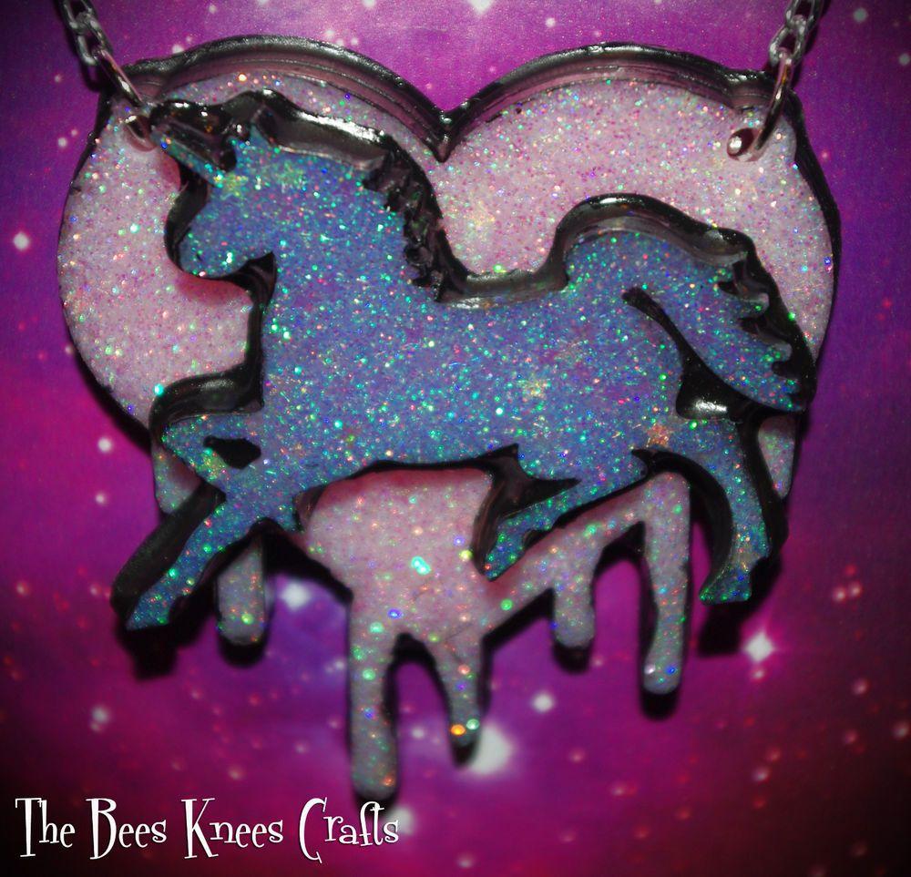 Purple Unicorn on Pastel Pink Drippy Heart Necklace Lolita/Rave/Plur/Kawaii/Alt in Necklaces & Pendants   eBay