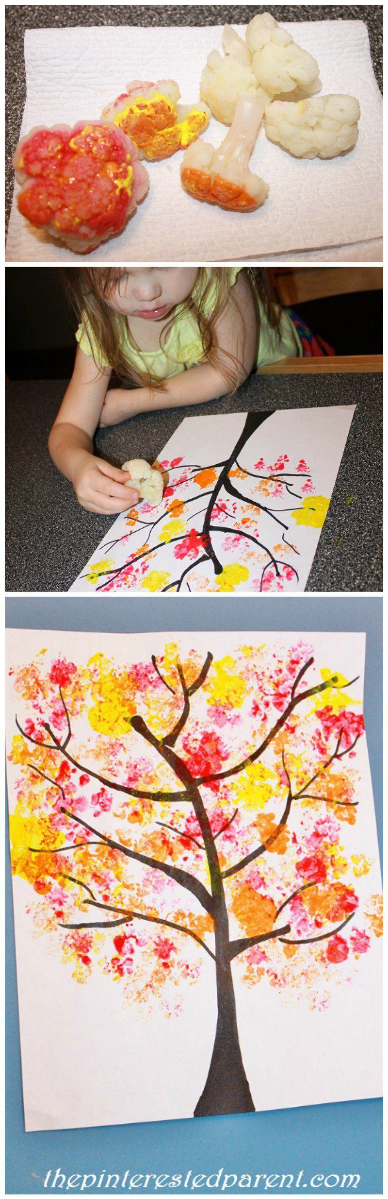 Cauliflower-Stamped-Fall-Tree-Craft