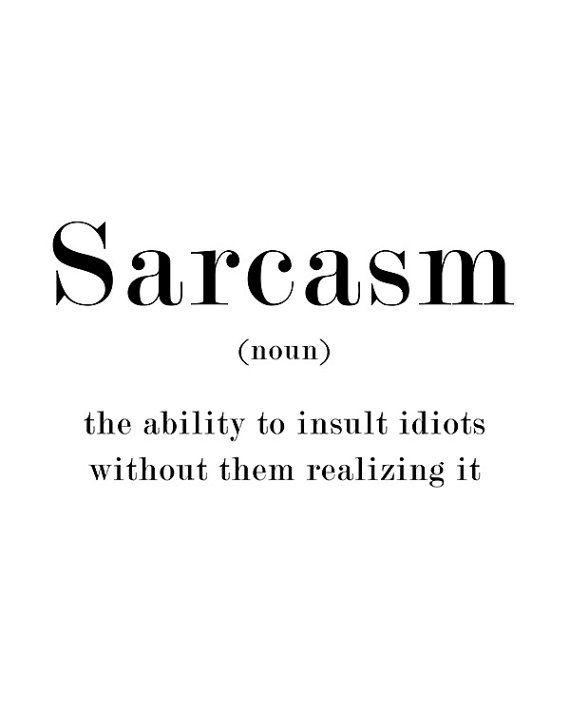 Sarcasm Name Definition Funny Quote Print Door Printablepixel