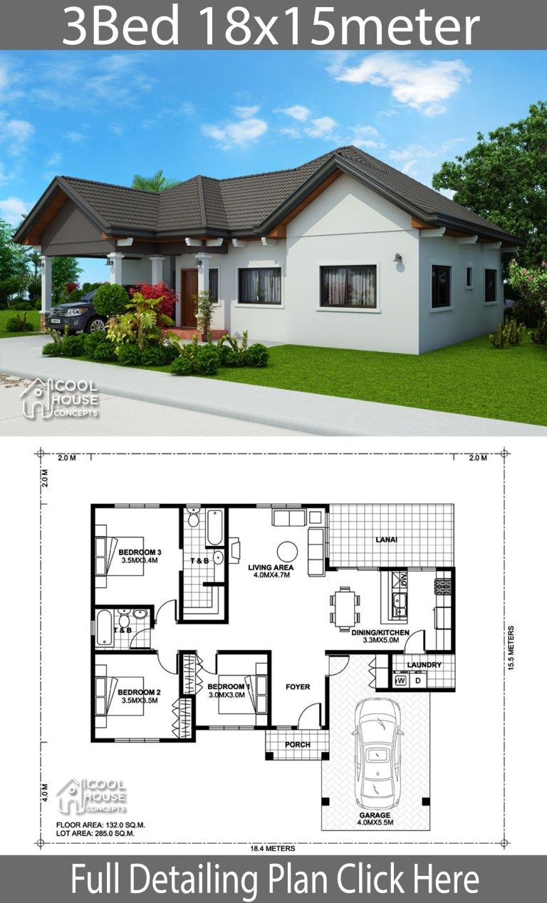 Home Design Plan 18x15m With 3 Bedrooms Home Ideas House Construction Plan House Plan Gallery Beautiful House Plans