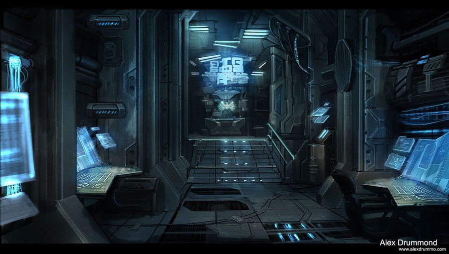 The interior of some sort of space ship battle station for Cyberpunk interior design