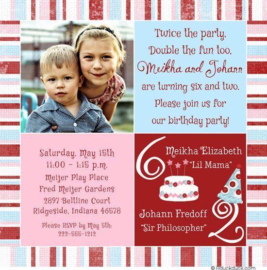 sibling birthday party invitation