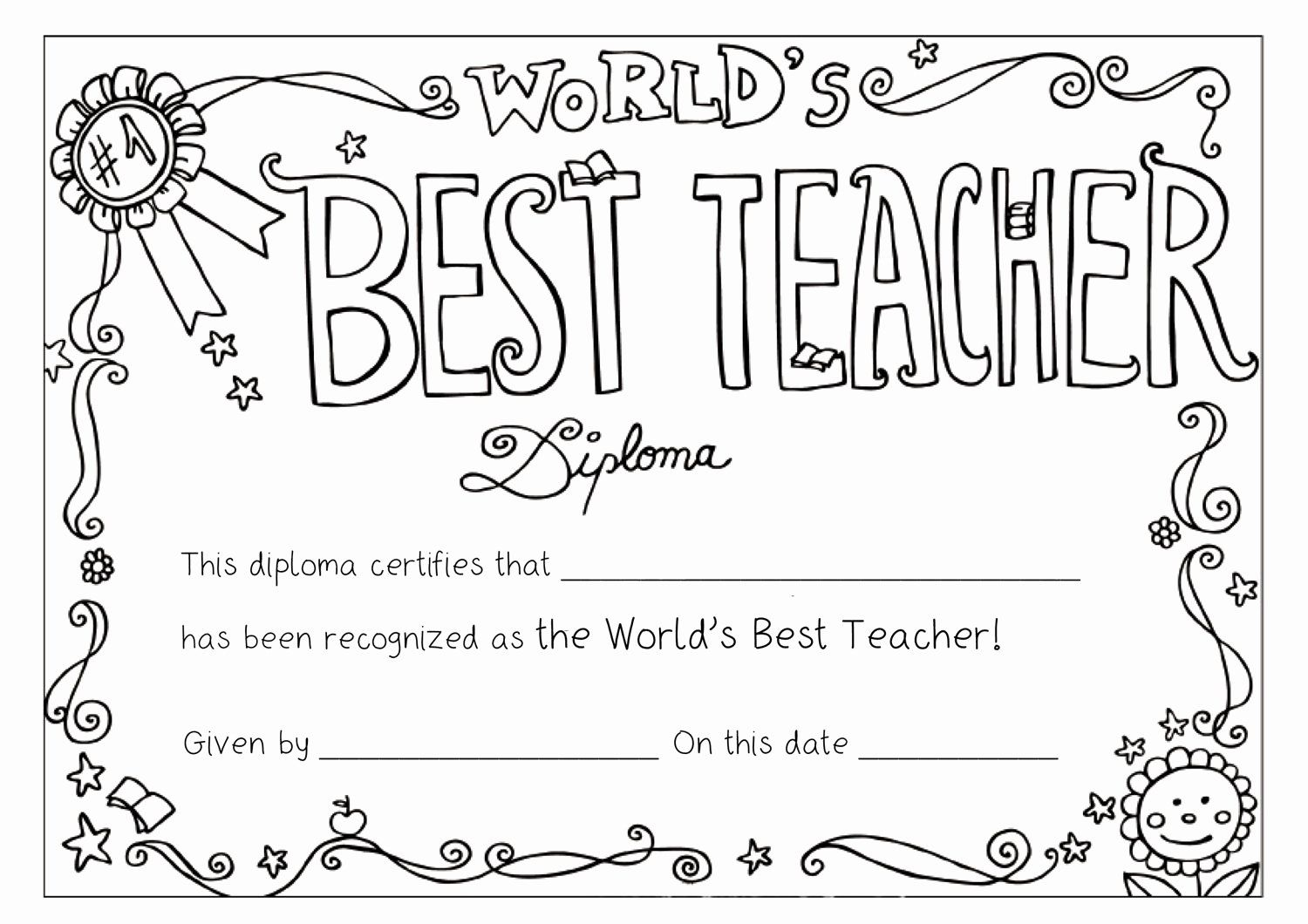 Best Teacher Award Certificate Awesome Teacher Coloring Pages Best Coloring Pages Teacher Awards Teacher Appreciation Week Printables Teacher Appreciation Week