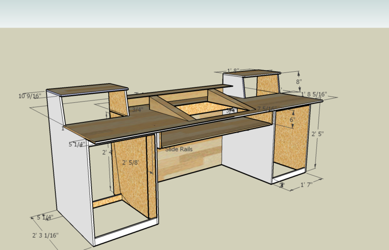 home studio desk design. A visual bookmarking tool that DIY Build Plans for Recording Studio Desk  More Explore Trahvon Trustman s board recording studio projects on Measurements a I think m going to