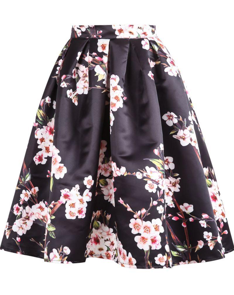 Shop Black Floral Pleated Skirt online. Sheinside offers Black ...