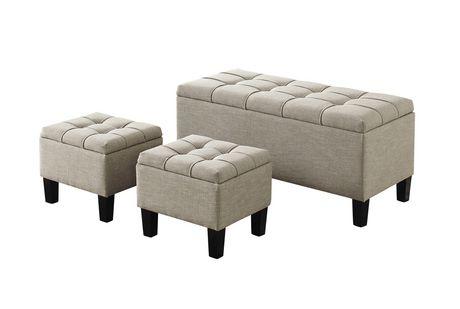 Terrific Wyndenhall Lancaster 3 Piece Rectangular Storage Ottoman Short Links Chair Design For Home Short Linksinfo