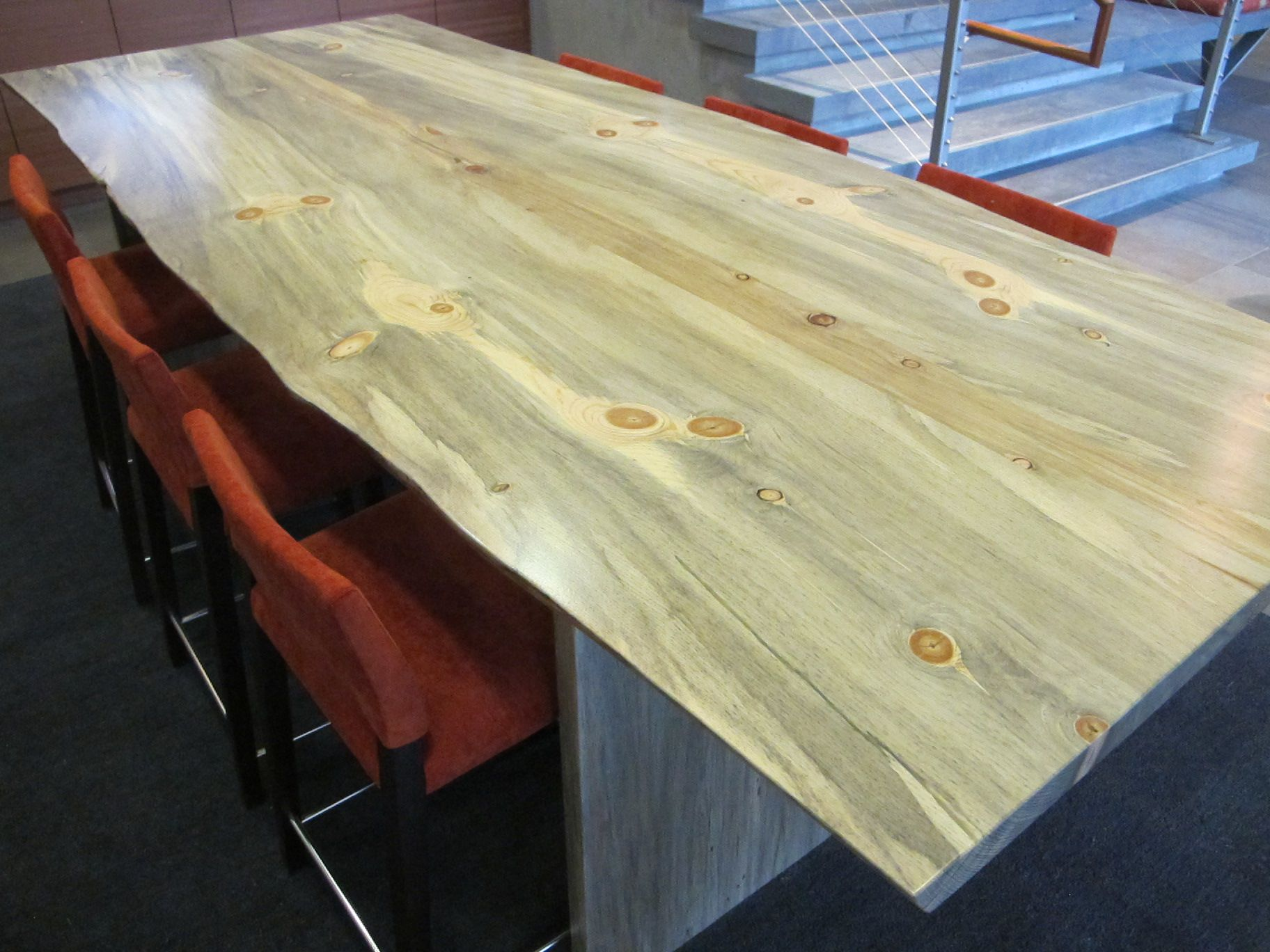 Natural edge dining table w steel hairpin legs from impact imports of - Windfall Lumber Live Edge Beetle Kill Pine Conference Table