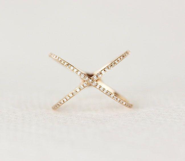 14k Rose Gold Diamond X Ring Diamond Crisscross X Ring 14K White