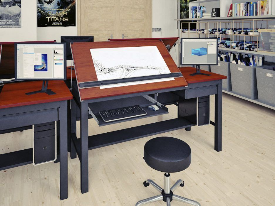 Exceptional Awesome Black Wood Drafting Table Computer Desk With Right Side Space Drawing  Table And Wonderful Brown