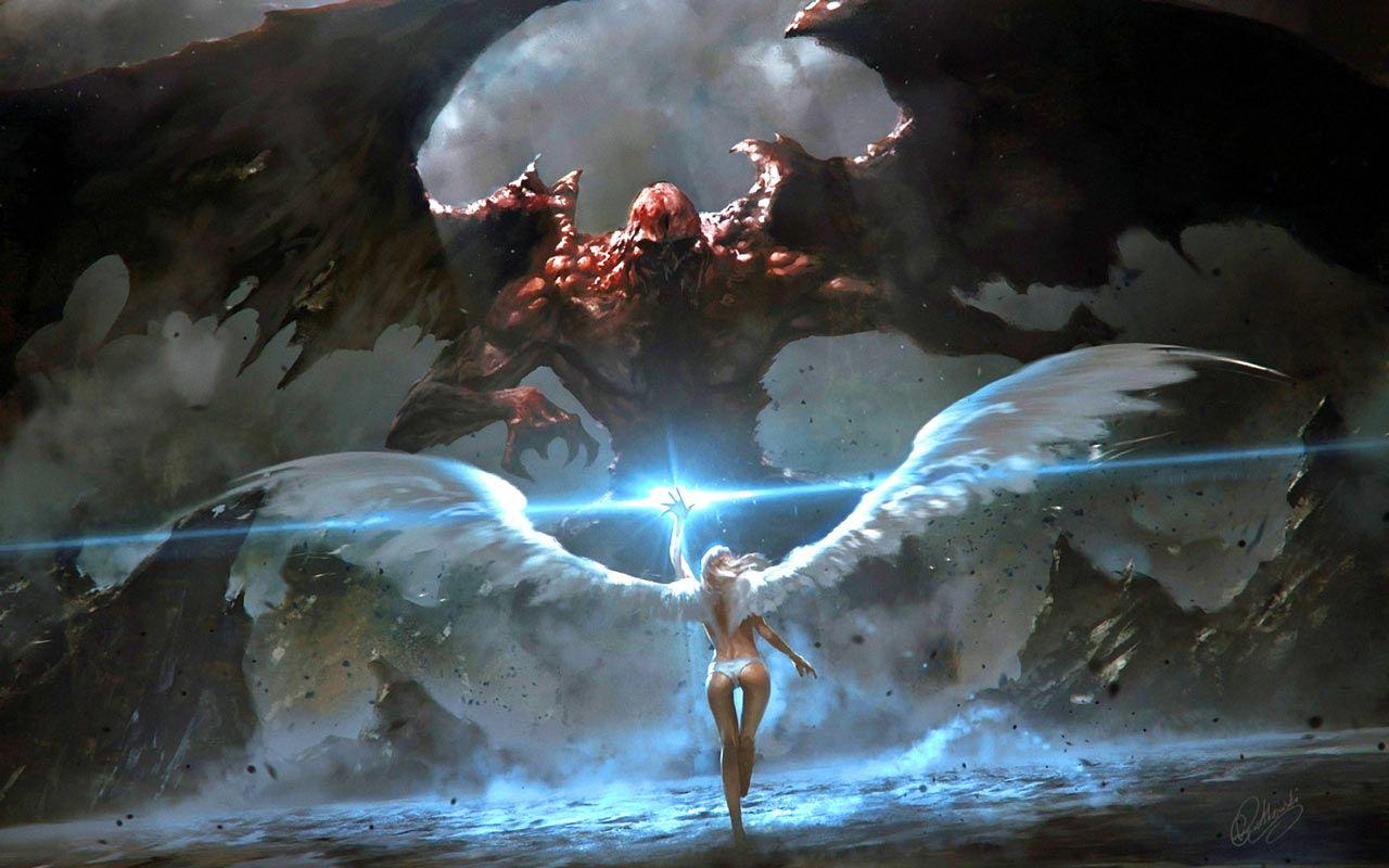 Angel Fighting Demons Wallpapers Angel Fighting Demons Backgrounds Angel Fighting Demons Images Free Computer D Angel Art Fantasy Art Angels Fantasy Artwork