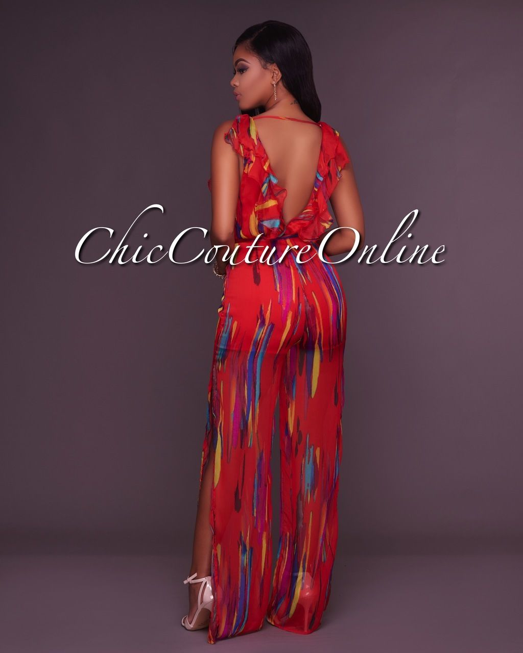 32178f1495c Chic Couture Online - Janine Deep V Red Printed Slit Legs Jumpsuit