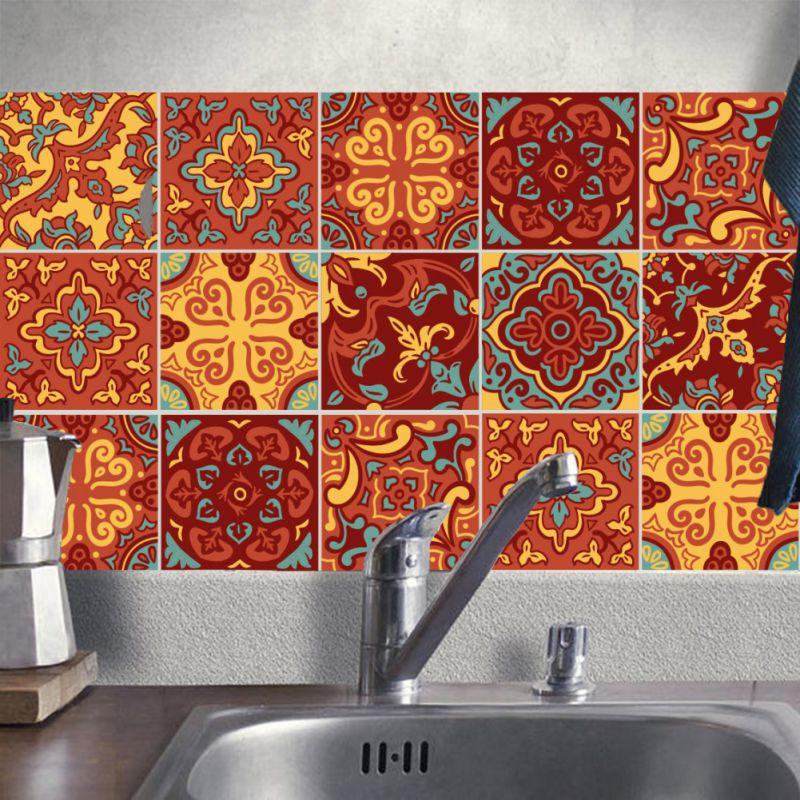 10pcs Diy Tiles Stickers 3d Retro Vintage Flowers Bathroom Kitchen