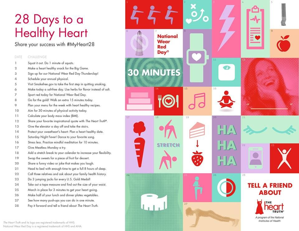 28 days to a healthy heart.... Heart health month, Heart
