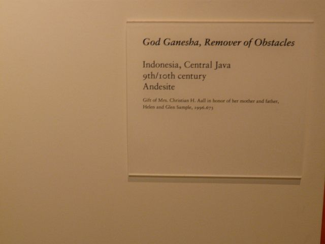Museum Label Ganesha Remover Of Obstacles By Emily Barney Via Flickr Exhibition Plan Labels Museum