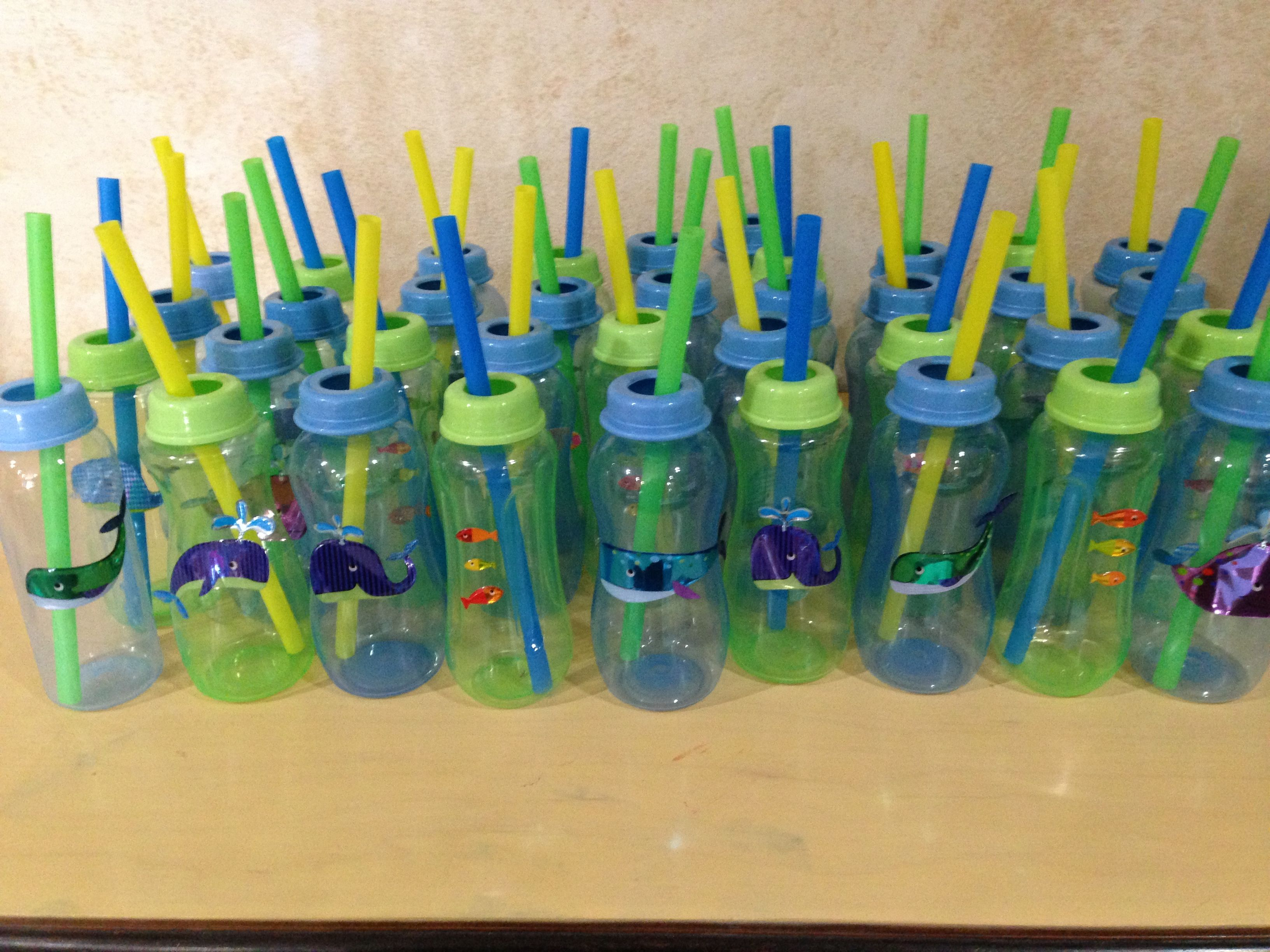 Under the Sea baby shower Purchased bottles at Dollar Tree used
