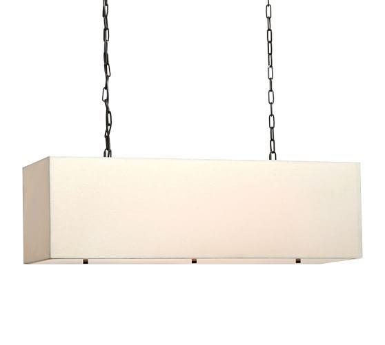 Httppotterybarnproductslinen rectangular drum pendant linen rectangular pendant mozeypictures Choice Image