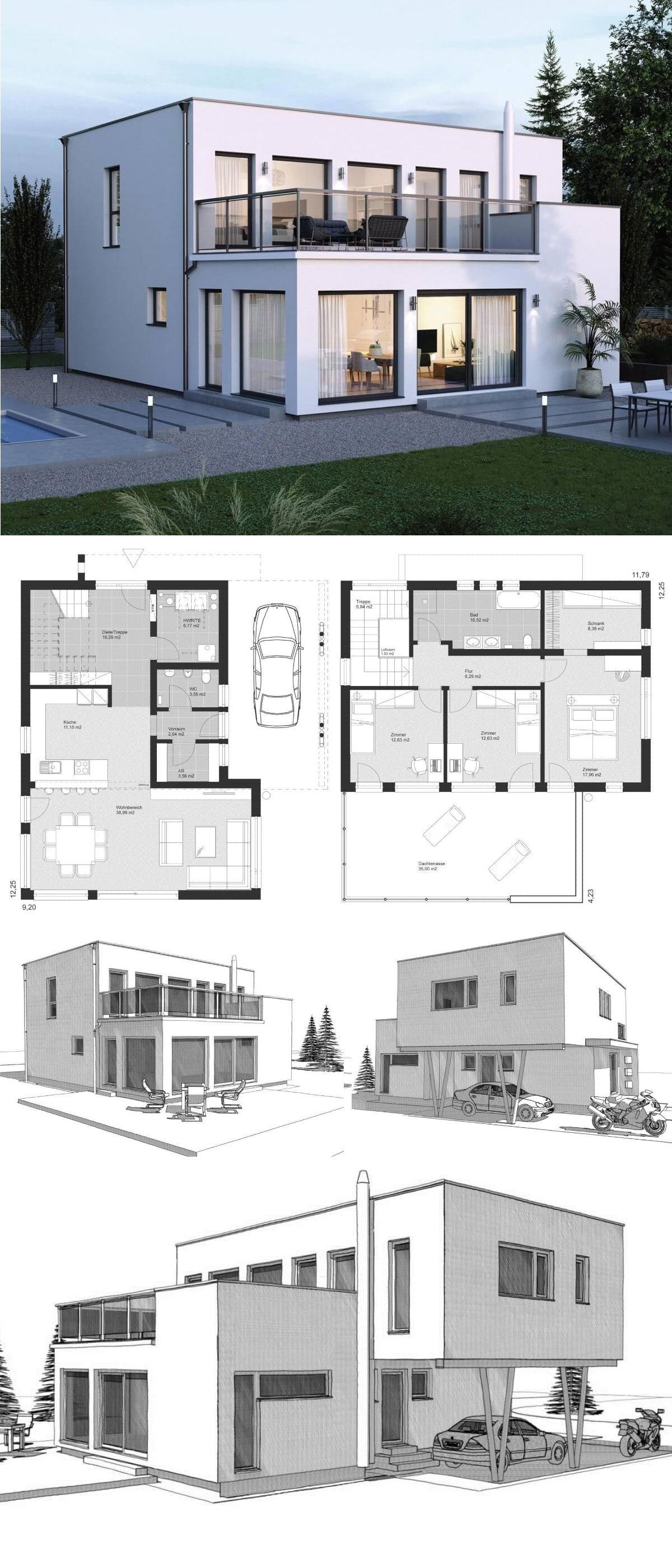 Stadtvilla Neubau Modern Im Bauhausstil Grundriss Mit Flachdach