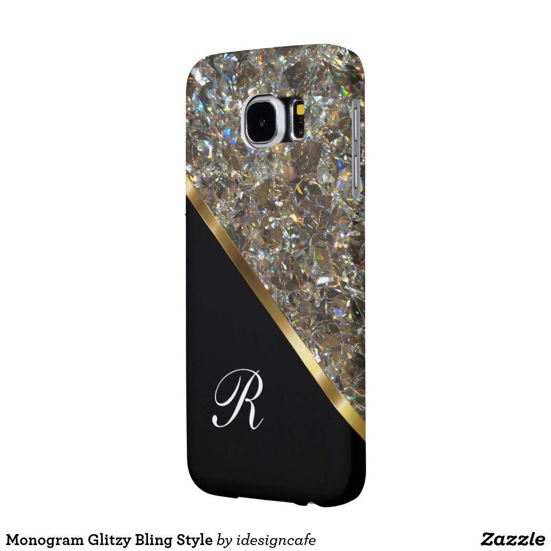 Monogram Glitzy Bling Style Case-Mate Samsung Galaxy Case | Zazzle.com