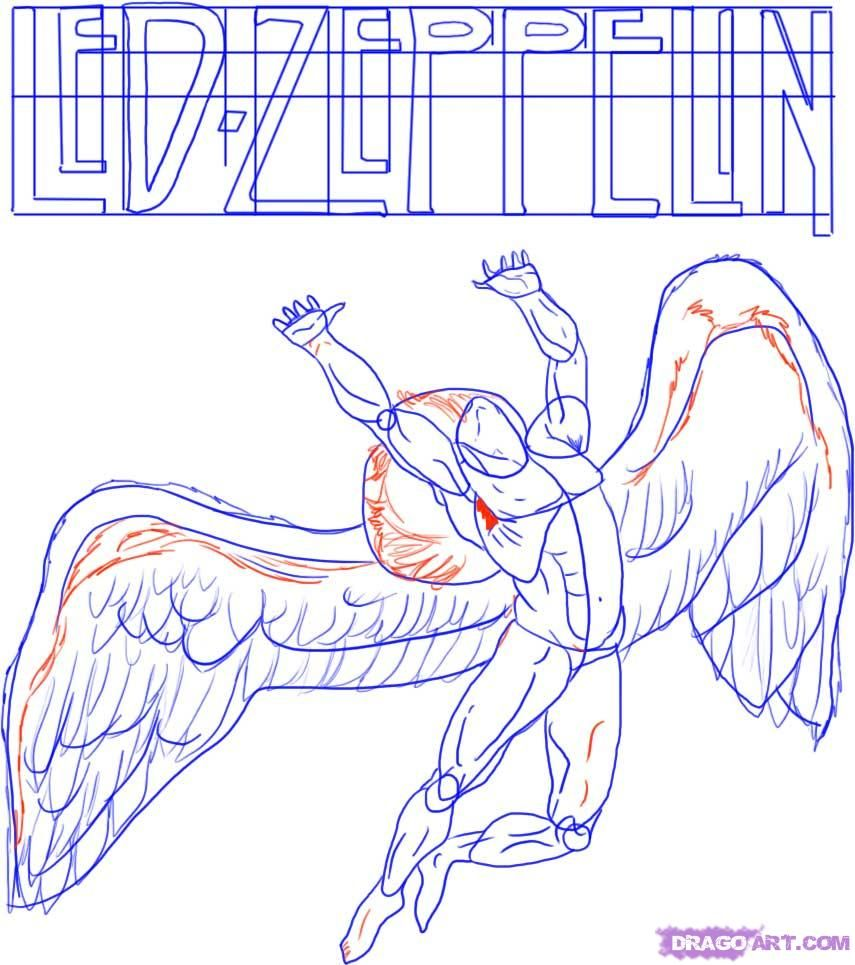 How To Draw Led Zeppelin Swan Song Record Lable Step 4 Led Zeppelin Art Zeppelin Art Led Zeppelin