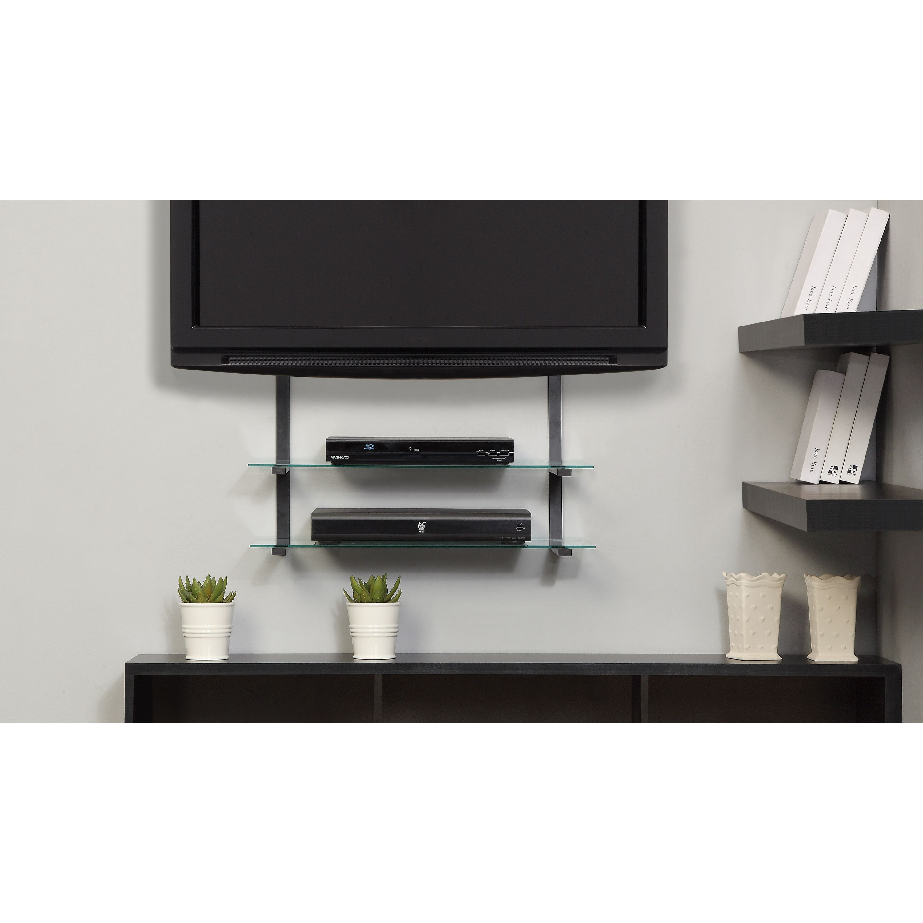 mount to your behind box shelf outside pin hide cable tv it how the wires and
