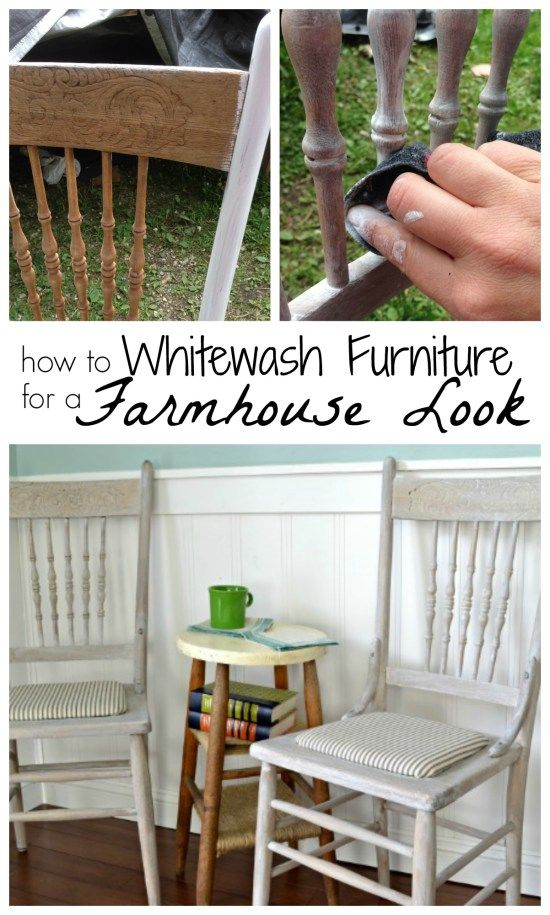 Thrifted Farmhouse Chairs With A Whitewash Finish Home Things Living Dining Room Farmhouse