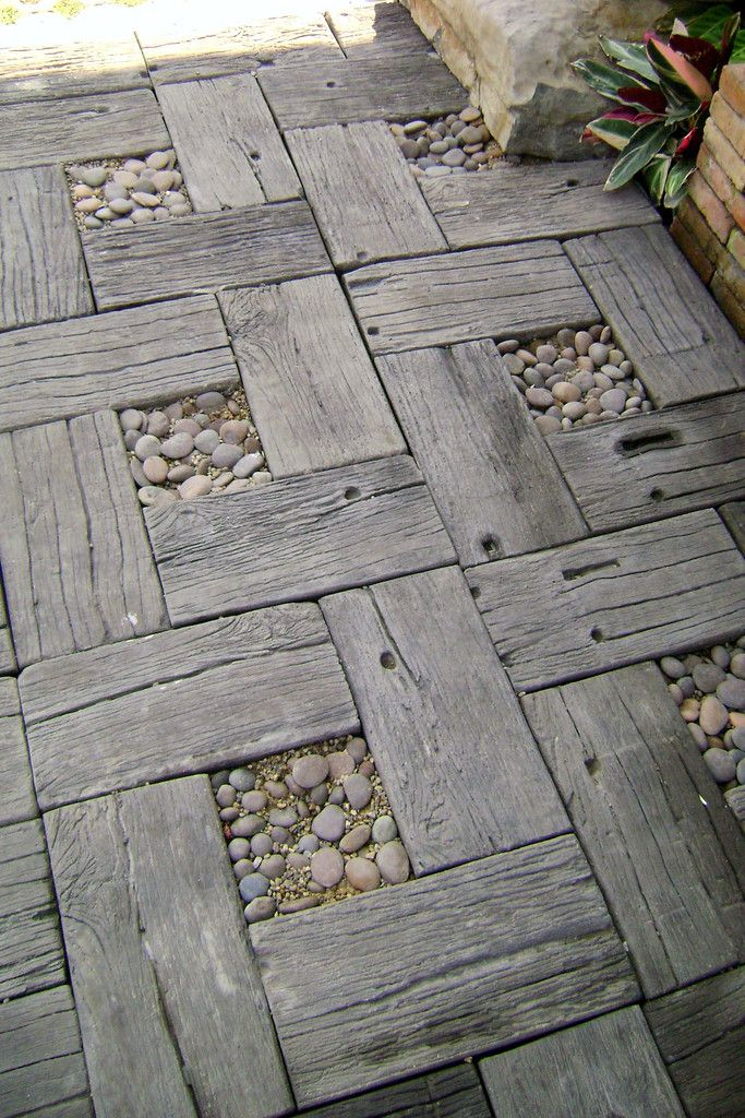 Wood Grain Concrete Pavers, unstained | Flower bed Gardening ...