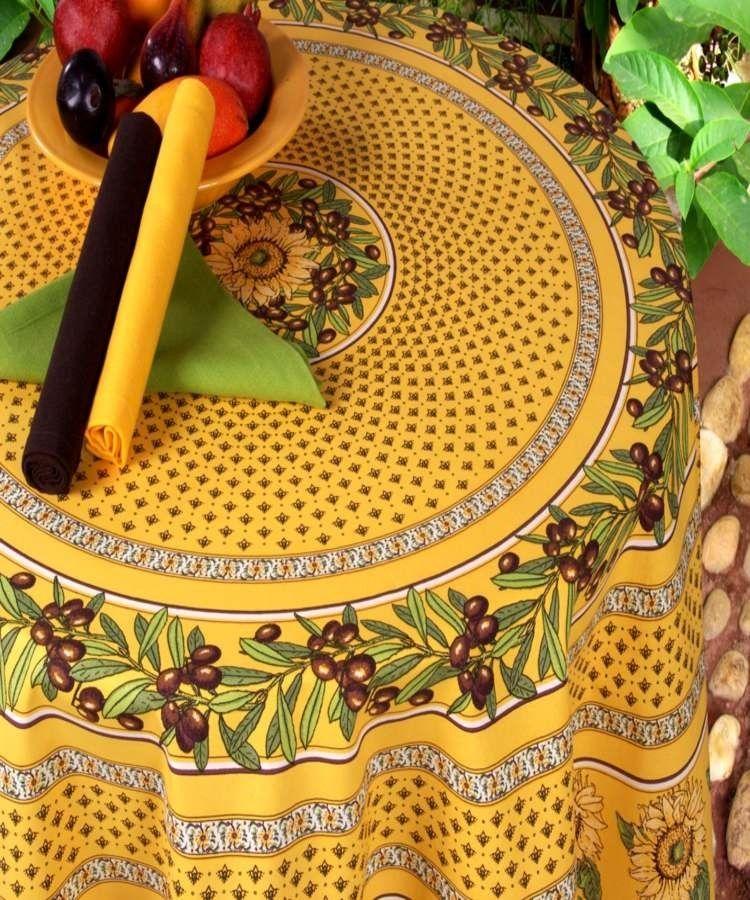 Nappe Ronde Enduite diamètre 160 cm Cette très jolie nappe ronde ...