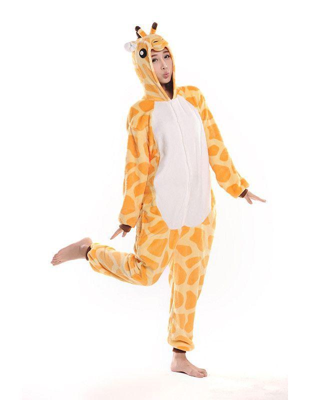 acafa1aeeb8f Giraffe One-Piece Pajamas Adult Cartoon Lounge Wear Cosplay Costume ...